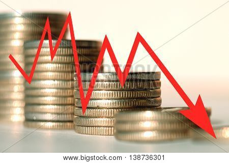 The red arrow icon on a background of money . The concept of changing prices on the market