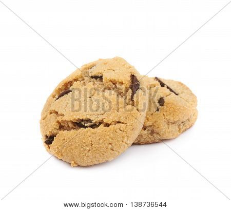 Two soft chewy chocolate chip cookies, composition isolated over the white background