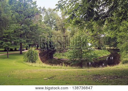 OSLO, NORWAY - JULY 1, 2016: This is the park Slottsparken at the Royal Palace.