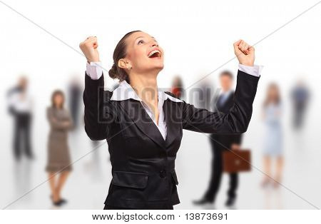 happy business woman on an isolated white background with business team