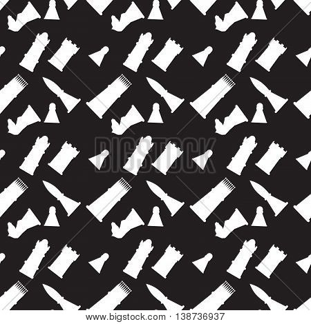 Seamless monochrome pattern with chess figures. Game strategy and silhouette chessmen. Vector illustration
