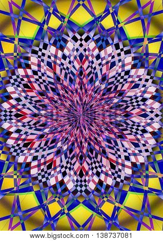 Abstract fractal pattern of curves iridescent colors  coming out of the center