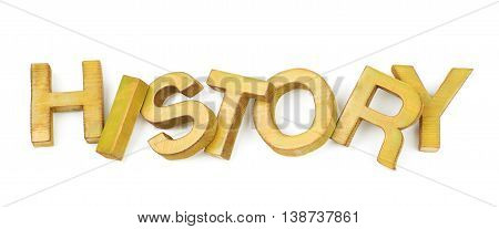 Word History made of colored with paint wooden letters, composition isolated over the white background