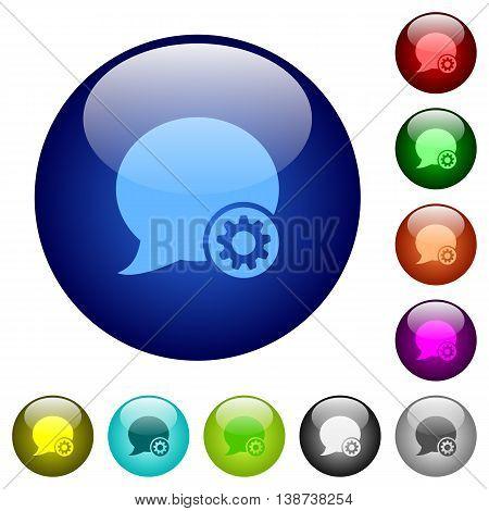 Set of color blog comment settings glass web buttons.
