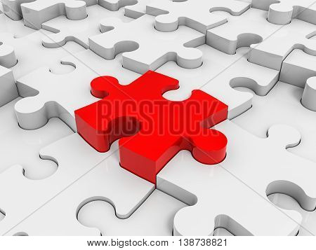 Abstract puzzle pieces background. One red. 3D illustration.