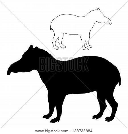 tapir adult black silhouette vector illustration set