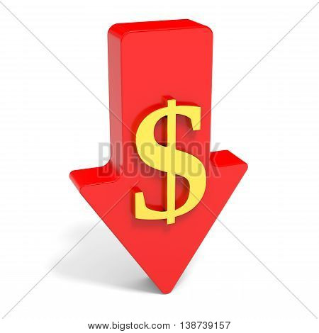 Dollar falls. Arrow on white background. 3D illustration.