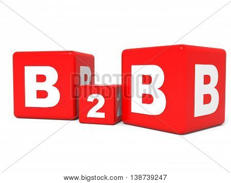 B2B Cubes On White Background. 3D Illustration.