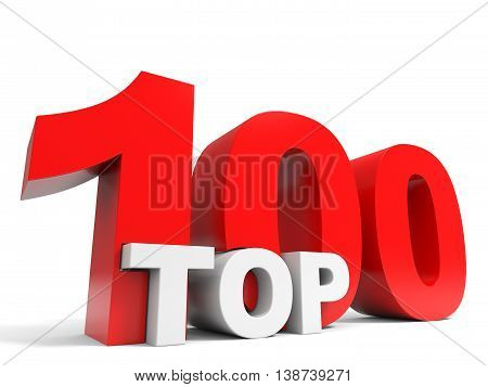 Top 100 on white background. One hundred. 3D illustration.