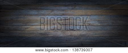 panoramic grunge background of old wooden boards with vignette