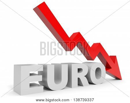 Graph down euro arrow on white background. 3D illustration.
