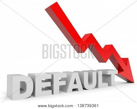Graph down default arrow on white background. 3D illustration.