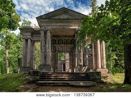 Russia. Gatchina Palace Park. Birch House. In front is a portal mask.