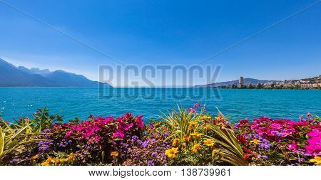 Panorama view of the Alps Geneva lake and Montreux cityscape with colorful flowers in foreground on a sunny summer day Canton of Vaud Switzerland