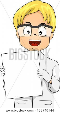 Illustration of a Little Boy in a Laboratory Coat Holding a Blank Board