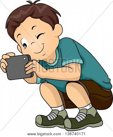 Illustration of a Little Boy Taking a Picture With His Phone