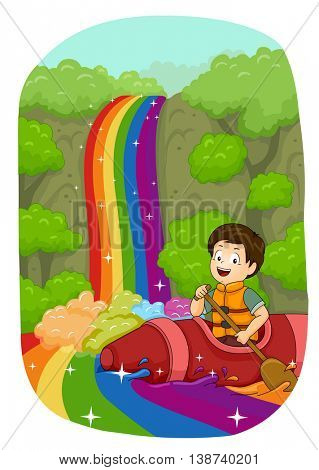 Illustration of a Little Boy Kayaking Down a Rainbow River