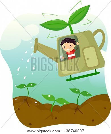 Illustration of a Little Boy Riding a Helicopter Shaped Watering Can