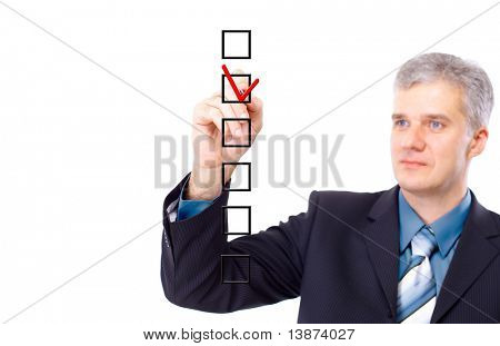 man choosing one of three options