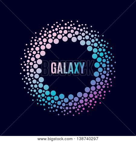 Vector poster Galaxy. Halfton circle with a gradient. Techno frame symbol of the universe, the planets of the solar system. Trendy flyer