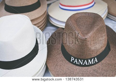 Hats are sold as souvenirs in Casco Viejo district of Panama City Panama Central America. Shallow DOF