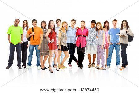 große Gruppe junger Menschen