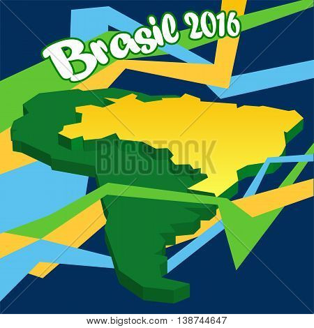 Abstract Brasil 2016 logo with national flag on country map in 3d over background with lines. Digital vector image.