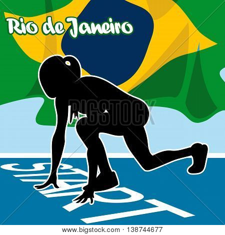 Abstract Rio de Janeiro logo with national flag and a woman silhouette at start. Digital vector image.