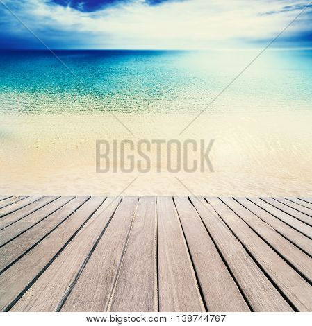 Beautiful beach and tropical sea - Sandy beach on sunny day with wooden walkway