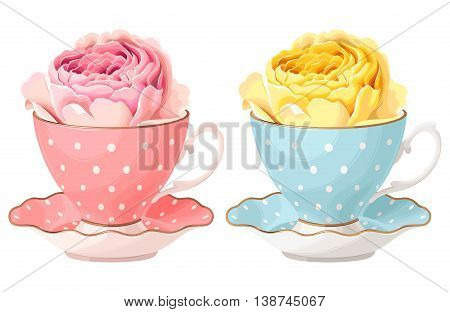 Vector illustration of rose in teacup in two color variants