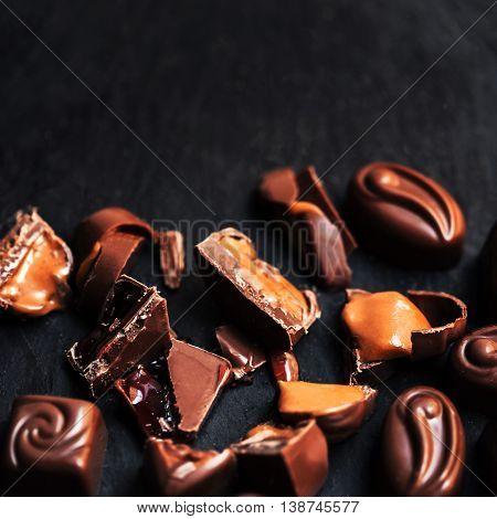 Chocolate candies collection. Beautiful Belgian truffles box macro