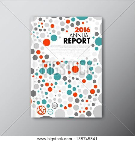 Modern Vector annual report review design template with colorful circles - front page report template