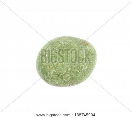 Green wasabi coated peanut isolated over the white background
