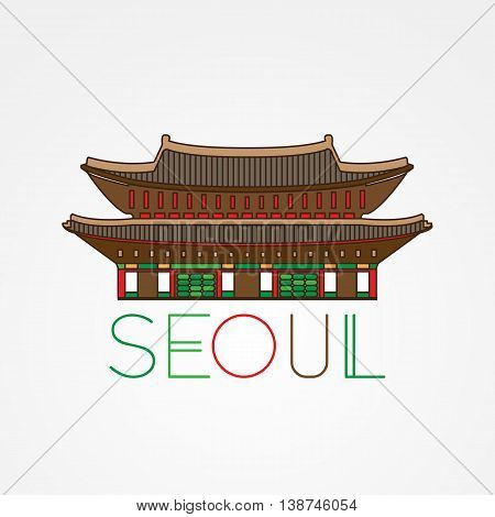 World famous Gwanghwamun Palace. Greatest Landmarks of Asia. Linear modern style vector icon symbol of Seoul, South Korea. Minimalist one line Trendy style. Colorfull variation.