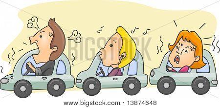 Ilustración de automovilistas durante la hora punta con una persona tranquila en el centro