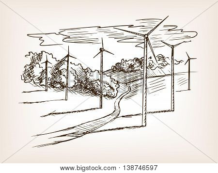 Wind power plant sketch style vector illustration. Old hand drawn engraving imitation.