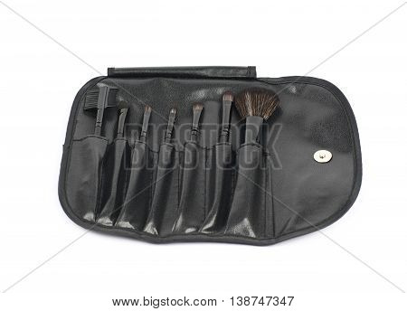 Makeup tools black case bag isolated over the white background