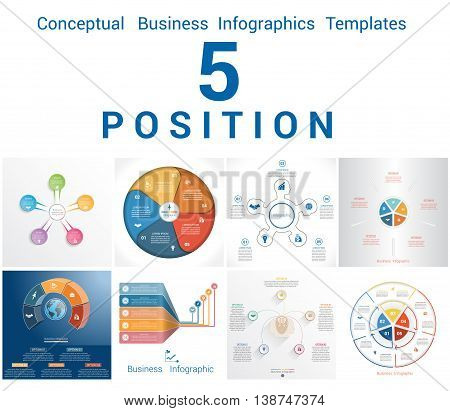 Set Vector Templates Infographics Business Conceptual Cyclic Processes for Five Positions Text Area Possible to use for Workflow Banner Diagram Web Design Timeline Area Chart