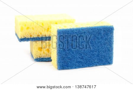 sponges isolated on white background. A close up