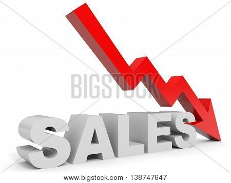 Graph down sales arrow on white background. 3D illustration.