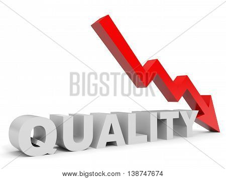 Graph down quality arrow on white background. 3D illustration.