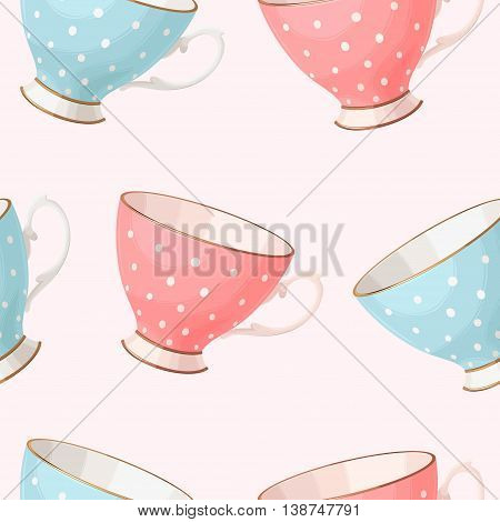 Vintage porcelain pink and blue teacups vector seamless background