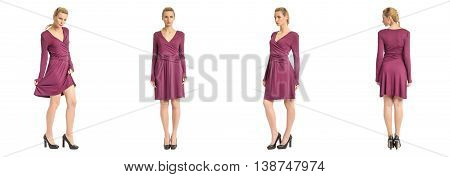Fashion Model Wearing Burgundy Dress With Emotions On White