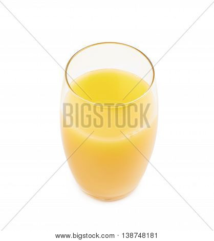 Tall glass filled with orange juice isolated over the white background