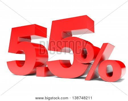 Red Five Point Five Percent Off. Discount 5.5 Percent.