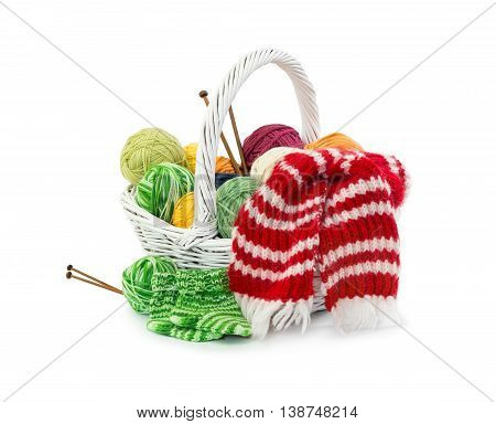 Balls Of Woolen Threads In Wicker Basket