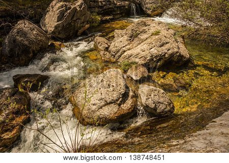 Picturesque river with waterfalls on Mount Olympus Northern Greece