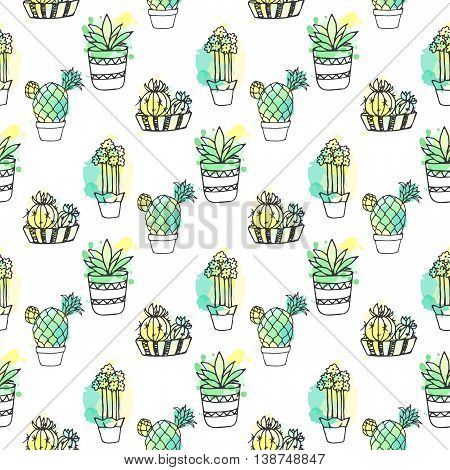 Seamless vector pattern with cactus. Colorful background with watercolor splashes and cacti. Succulent collection. Houseplant doodle illustration. Mexican dessert plants.