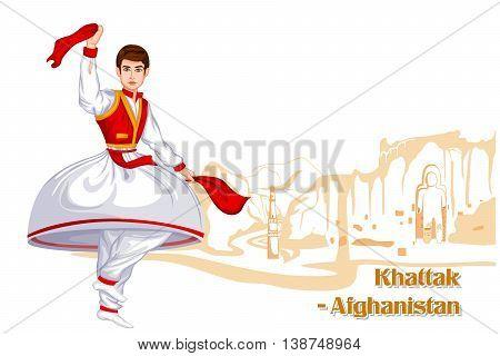 Vector design of Afghani Man performing Khattak dance of Afghanistan