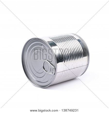 Metal tin food can lying on its side, composition isolated over the white background